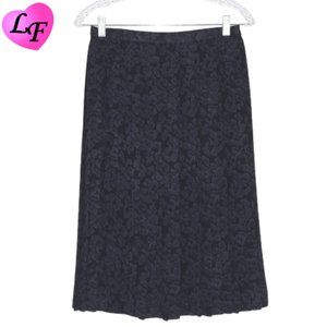 Pleated Navy Floral Etch Skirt by JOSEPHINE CHAUS